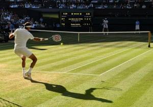 Argentina's Juan Martin Del Potro flings a forehand to Rafael Nadal in the third set.