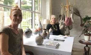 Artists Alison West and Gillian Frost in Gillian's home near Chagford in Devon.