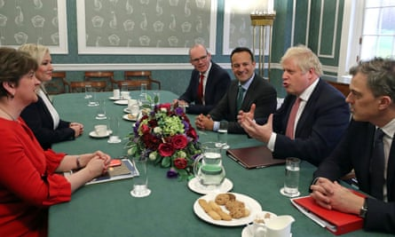 Boris Johnson with political leaders in Stormont