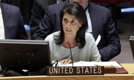 Nikki Haley addresses the security council in New York.