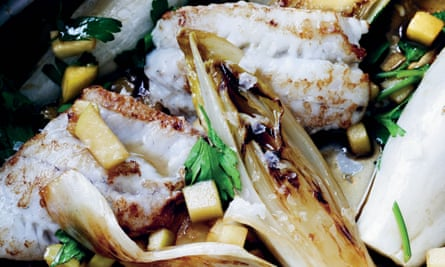 Fried flounder with braised chicory