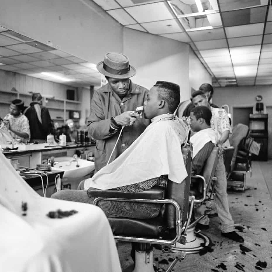 At the Barbers, Harlesden, NW London, 1991.