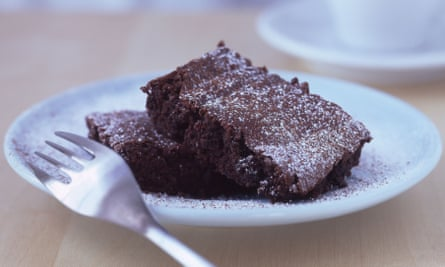 a chocolate brownie cake