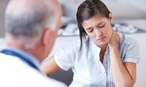 Its a tough diagnosis to processDistraught woman looking down while receiving some upsetting news from her doctor - copyspace
