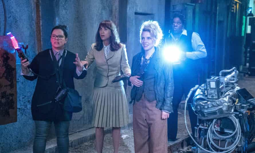 'It's almost inevitable that in the climatic brawl, the quartet aim their plasma blasters squarely at a giant male ghost's crotch' … McCarthy, Wiig, McKinnon and Jones