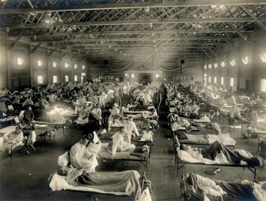 Soldiers at Camp Funston in Kansas recover from the influenza pandemic in 1918.
