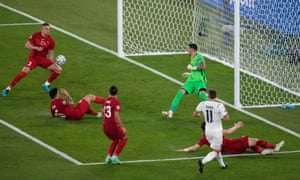 Turkey's Merih Demiral scores an own goal to give Italy the lead.