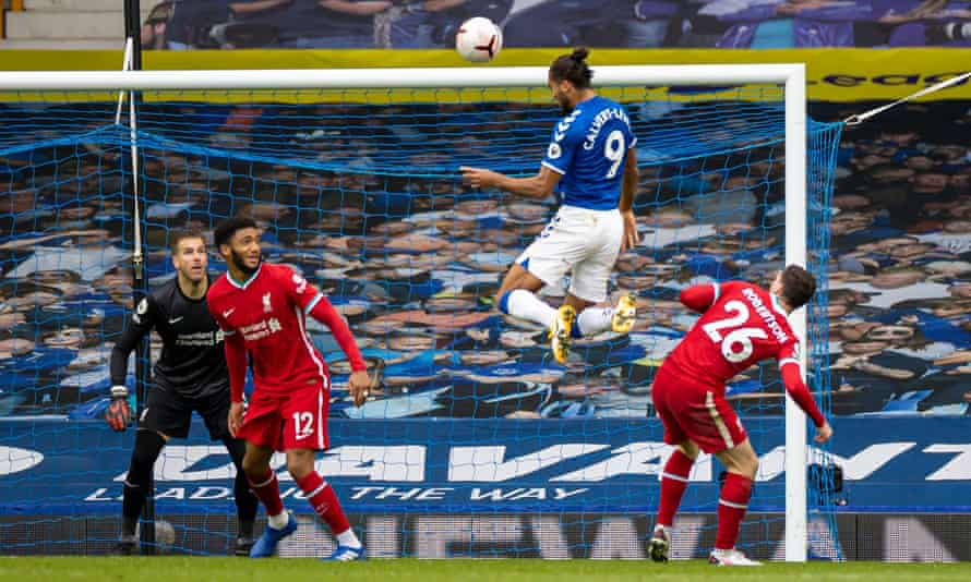 Everton's Dominic Calvert-Lewin scores with a header against Liverpool in October 2020