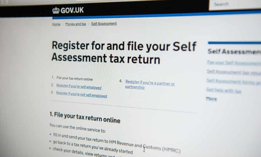 A HMRC webpage for online self-assessment tax returns