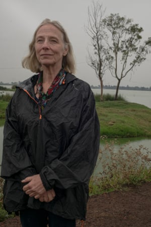 Elena Burns, an activist for sustainable water solutions, in front of the Lago de Chalco. 'This should be the heart of the solution,' she says.