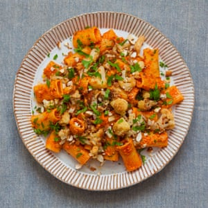 Claire Thomson's pasta with fried cauliflower and red pepper pesto.