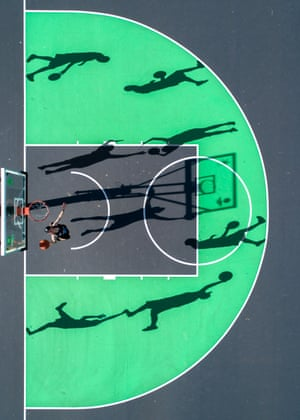 From a series of aerial photographs of basketball courts taken using a drone by Auckland based photographer Petra Leary.
