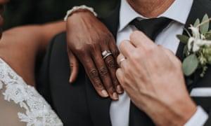 Closeup Of Bride And Groom's Hands