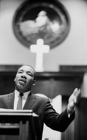 King  preaching at the Ebenezer baptist church, where he had been ordained a minister in 1948.