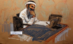 A sketch by courtroom artist Janet Hamlin shows Khalid Sheikh Mohammed during a military hearing at Guantánamo Bay in 2012.