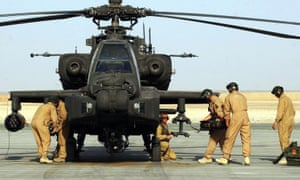 An Apache helicopter at Camp Bastion in Afghanistan.