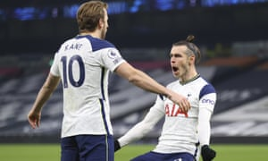 Tottenham's Gareth Bale, right, celebrates after scoring his side's second goal, with Tottenham's Harry Kane, the provider.