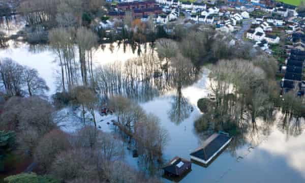 Floods around Caldicot, Wales, on December 24.