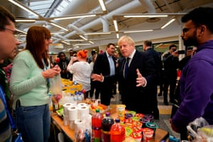 Boris Johnson meets staff and students at Bolton University chancellor's building.