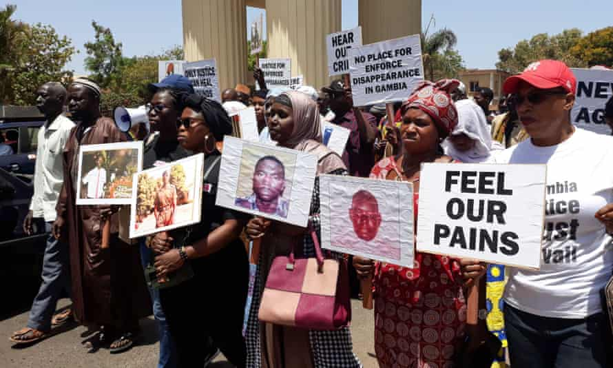 Relatives of victims of the regime of the former president Yahya Jammeh demonstrate in Banjul in April 2018.