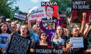Protesters against Brett Kavanaugh''s nomination to the supreme court in Washington DC. Donald Trump said: 'It's a very scary time for young men in America when you can be guilty of something that you may not be guilty of.'