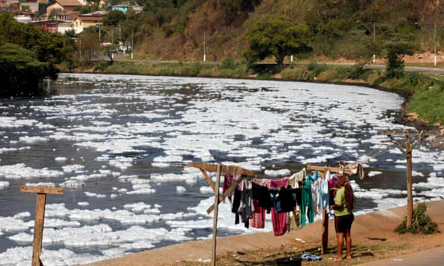The polluted Tiete river in Pirapora do Bom Jesus, 40km north-east of Sao Paulo in Brazil. It is estimated that a single fleece jacket can release a million fibers in a single washing.