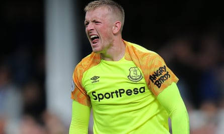 England's goalkeeper Jordan Pickford in his Everton shirt sponsored by an online casino.
