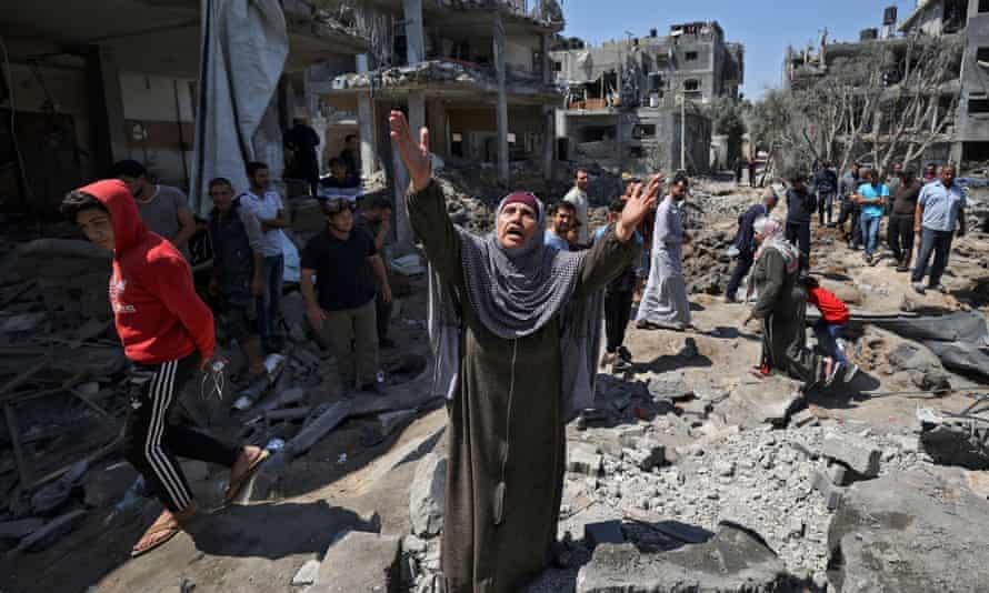 The aftermath of an Israeli airstrike, Gaza Strip, 14 May