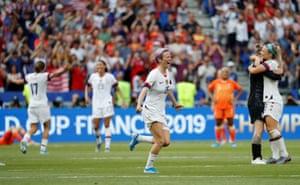Megan Rapinoe celebrates winning the women's world cup.