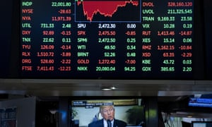BESTPIX Dow Jones Industrial Averages Closes Over 22,000<br>NEW YORK, NY - AUGUST 2: President Donald Trump is displayed on a television screen on the floor of the New York Stock Exchange (NYSE) ahead of the closing bell, August 2, 2017 in New York City. The Dow closed above 22,000 for the first time. (Photo by Drew Angerer/Getty Images) *** BESTPIX ***