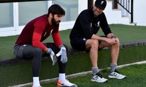 Alisson with Jurgen Klopp at Liverpool's training camp in Marbella