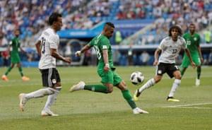 Saudi Arabia's Salem Al-Dawsari fires in the winner.
