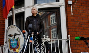Julian Assange on the balcony of the Ecuadorian embassy in London, May 2017