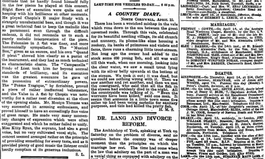 The Guardian, 18 April 1921.