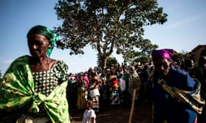 People forced from their homes by conflict at a camp in Bunia, in the north-east of the Democratic Republic of the Congo