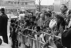 Children from Canon Barnett Primary School waiting for the Queen Mother outside Whitechapel Art Gallery. 1986.