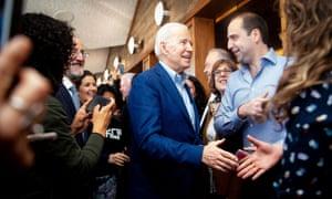 Joe Biden greets restaurant patrons at Buttercup Diner in Oakland, California.