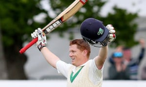 Kevin O'Brien celebrates his century during Ireland's inaugural test match against Pakistan.