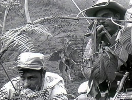 The Farc leader Manuel Marulanda, left, during combat following an attack at their camp in Marquetalia during the 1960s.