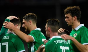 Northern Ireland's defender Paddy McNair (left) celebrates after scoring during the 3-2 friendly win in the Czech Republic.