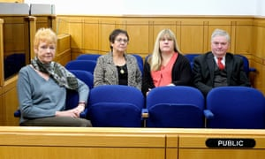 Left to right: trial observers Vera Baird, Val Cottier, Sue Pearce and Keith Woodhouse at Newcastle crown court.
