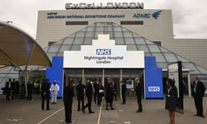 A 4,000-bed field hospital, NHS Nightingale, has been created in the ExCel centre in London.