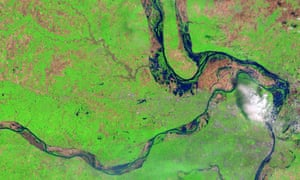 Satellite image of flooding along the Mississippi, Missouri, and Illinois rivers in May 2017