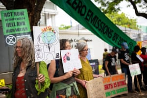 Environmental activists from Extinction Rebellion protest outside the Australian embassy in Pretoria, South Africa. The protesters are part of a tens of thousands of members of the Extinction Rebellion who are protesting globally against the Australian government's handling of the bushfires ravaging the country