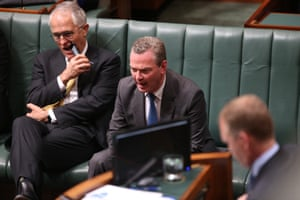 Under pressure ... Malcolm Turnbull and Christopher Pyne in the House of Representatives on Thursday after losing votes.