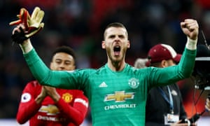David de Gea celebrates after his stellar performance at Wembley.
