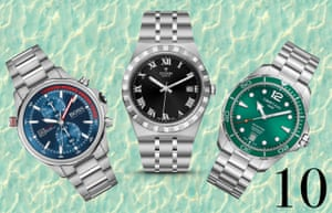 Sporty watches: Finish your look and keep in time with this season's sporty watches with chunky steel bracelets. Add flashes of brightness in the mix with a blue or green face. From left: Globetrotter £329, Boss at goldsmiths.co.uk. Tudor Royal 38mm, £1,700, tudorwatch.com. DS Action, £525, certina.com
