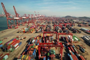 An aerial view of a port in Qingdao, east China's Shandong province.