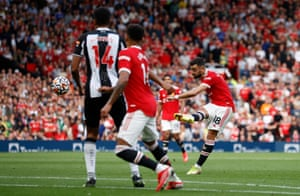 Manchester United's Bruno Fernandes scores their third goal.