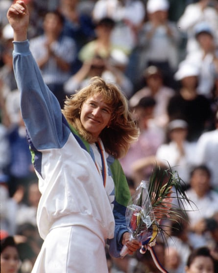 Steffi Graf with her Olympic gold medal in 1988